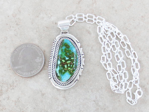 Image 1 of     Turquoise & Sterling Silver Pendant Native American Jewelry - 4657sn