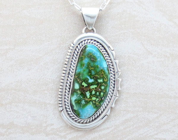Turquoise & Sterling Silver Pendant Native American Jewelry - 4657sn