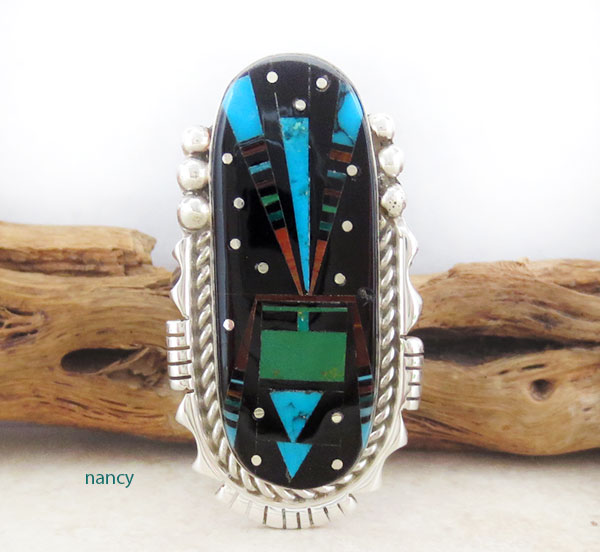 Native American Jewelry Gemstone Inlay & Sterling Silver Ring Sz 11 - 4658pl