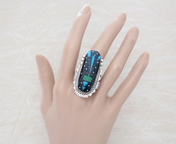 Image 1 of     Native American Jewelry Gemstone Inlay & Sterling Silver Ring Sz 11 - 4658pl