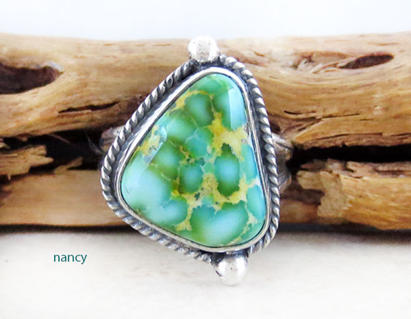 Turquoise & Sterling Silver Ring Sz 7 Native American Made Jewelry - 5014sn