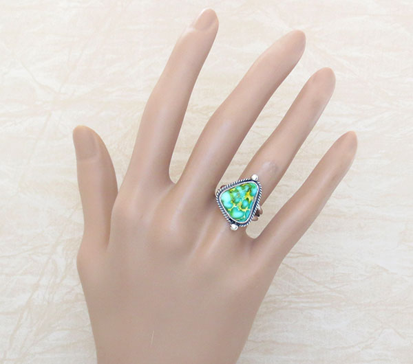 Image 1 of Turquoise & Sterling Silver Ring Sz 7 Native American Made Jewelry - 5014sn