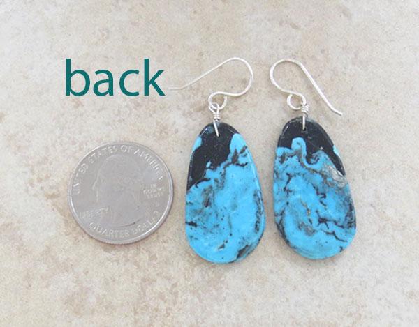 Image 2 of  Native American Santo Domingo Turquoise Slab Earrings - 4906pl