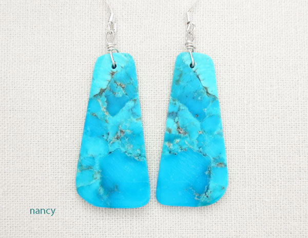 Image 0 of         Turquoise Slab Earrings Native American Jewelry - 5015pl