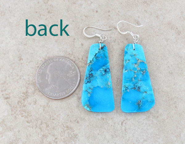 Image 2 of         Turquoise Slab Earrings Native American Jewelry - 5015pl