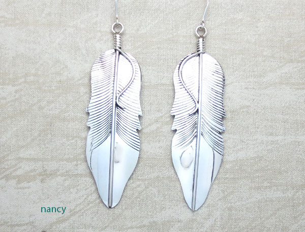 Image 0 of Large Sterling Silver Feather Earrings Native American Jewelry - 4790sn