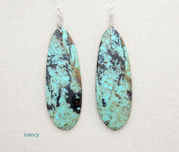 Image 0 of  Native American Turquoise Slab Earrings Kewa Jewelry - 4671pl