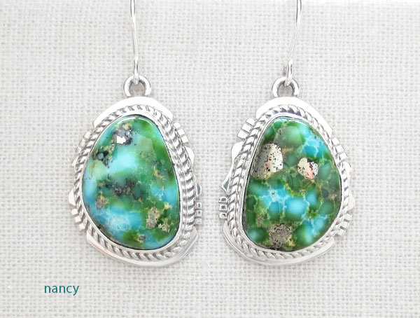 Turquoise & Sterling Silver Earrings Native American Jewelry - 4670sn
