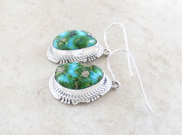 Image 1 of         Turquoise & Sterling Silver Earrings Native American Jewelry - 4670sn