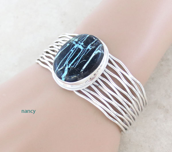 Image 1 of Turquoise & Sterling Silver Bracelet Native American Jewelry - 4672sn