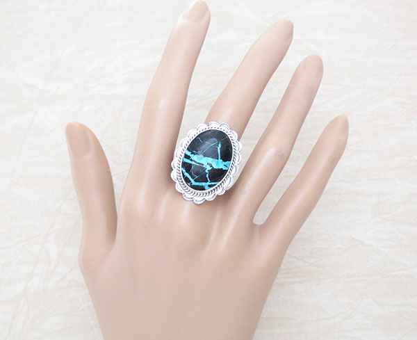 Image 1 of      Turquoise & Sterling Silver Ring Sz 9 Native American Jewelry - 4913sn