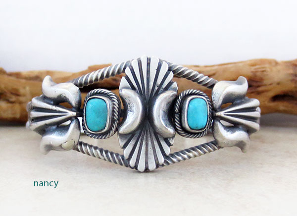Turquoise & Sterling Silver Bracelet  Native American Jewelry - 4912rb