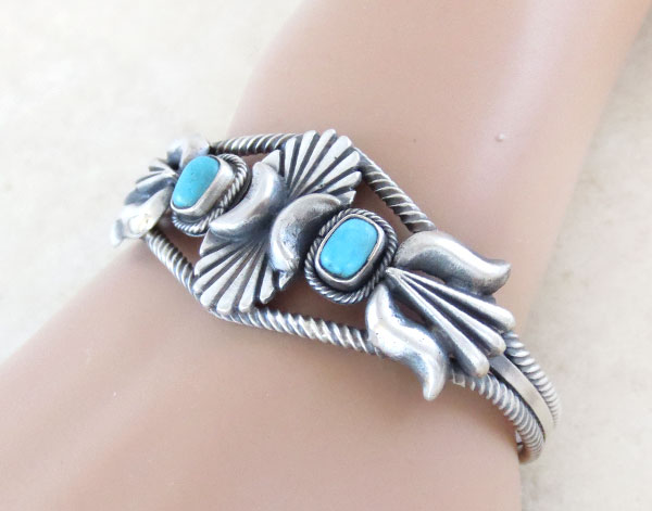 Image 1 of      Turquoise & Sterling Silver Bracelet  Native American Jewelry - 4912rb