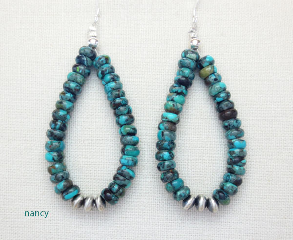 Image 0 of     Turquoise & Sterling Silver Bead Earrings Native American Jewelry - 4917rio
