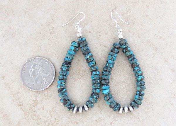 Image 2 of     Turquoise & Sterling Silver Bead Earrings Native American Jewelry - 4917rio