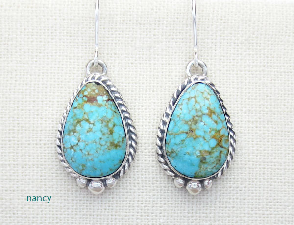 Turquoise & Sterling Silver Earrings Native American Jewelry - 4916sn