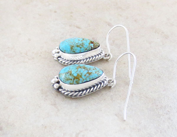 Image 1 of     Turquoise & Sterling Silver Earrings Native American Jewelry - 4916sn