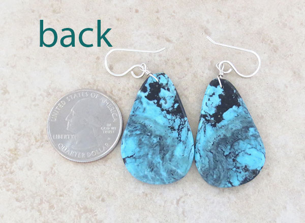 Image 2 of   Turquoise Slab Earrings Native American Jewelry Kewa - 4915pl