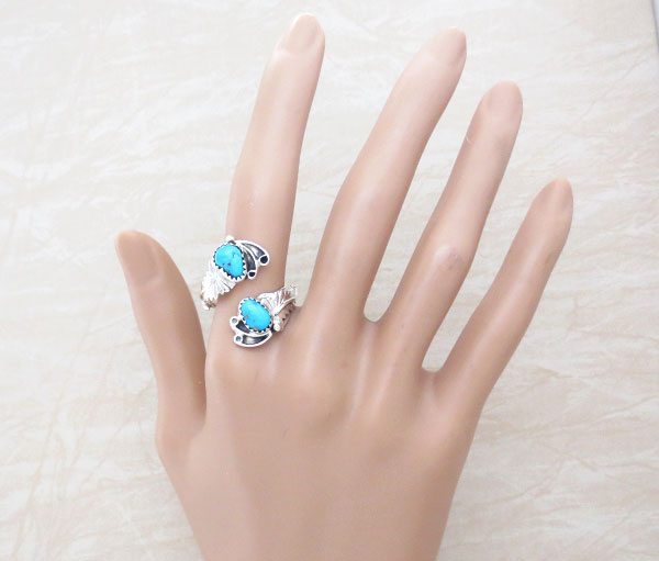 Image 1 of Turquoise & Sterling Silver Adjustable Ring Native American Jewelry - 4918rb