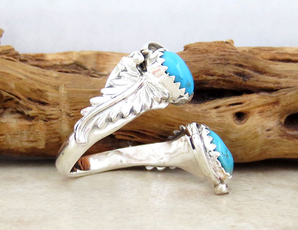Image 2 of Turquoise & Sterling Silver Adjustable Ring Native American Jewelry - 4918rb