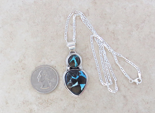 Image 1 of Turquoise & Sterling Silver Pendant Native American Jewelry - 5021sn
