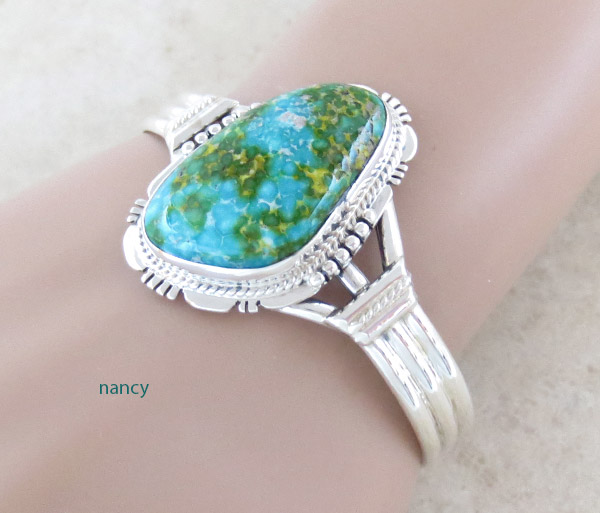Image 1 of     Turquoise & Sterling Silver Bracelet Native American Jewelry - 5018sn