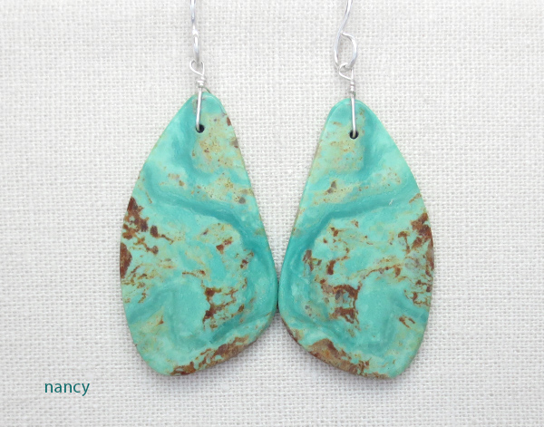 Turquoise Slab Earrings Native American Jewelry - 4925rio