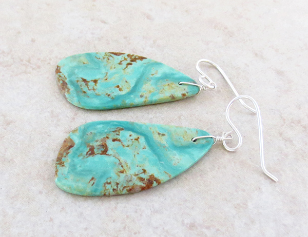 Image 1 of  Turquoise Slab Earrings Native American Jewelry - 4925rio
