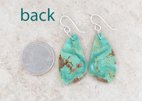 Image 2 of        Turquoise Slab Earrings Native American Jewelry - 4925rio