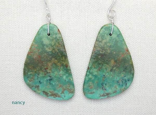 Turquoise Slab Earrings Native American Jewelry - 5023rio