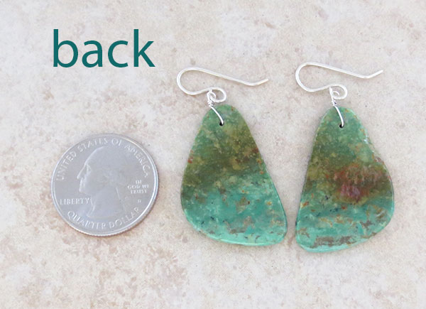Image 2 of      Turquoise Slab Earrings Native American Jewelry - 5023rio