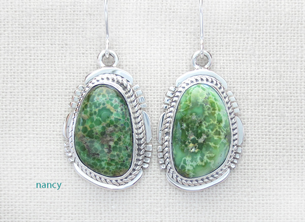 Turquoise & Sterling Silver Earrings Native American Jewelry - 4921sn
