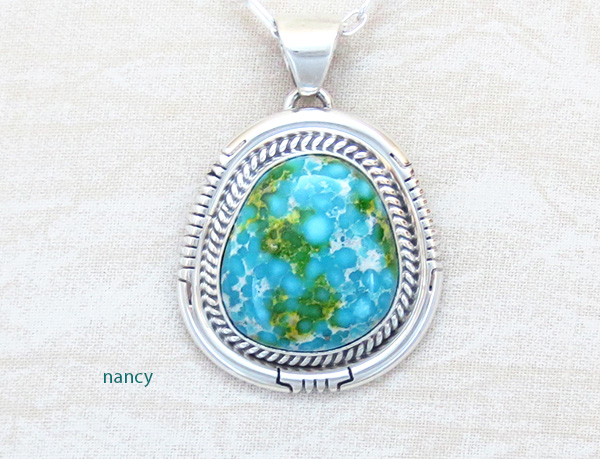 Turquoise Pendant Native American Jewelry Navajo Made - 4927sn