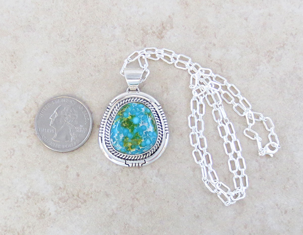 Image 1 of Turquoise Pendant Native American Jewelry Navajo Made - 4927sn