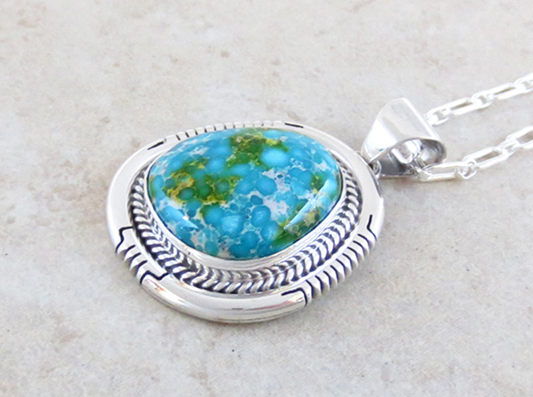 Image 2 of      Turquoise Pendant Native American Jewelry Navajo Made - 4927sn