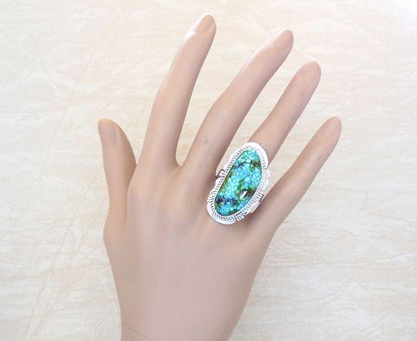 Image 1 of Turquoise & Sterling Silver Ring Sz 10 Native American Made Jewelry 5029sn
