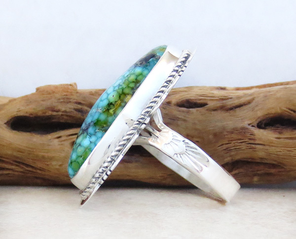 Image 2 of Turquoise & Sterling Silver Ring Sz 10 Native American Made Jewelry 5029sn
