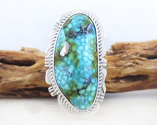 Image 0 of    Sonoran Turquoise & Sterling Silver Ring Sz 10 Navajo Jewelry 5029sn