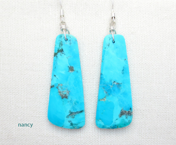 Image 0 of   Turquoise Slab Earrings Native American Jewelry - 5027pl