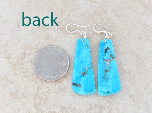 Image 2 of   Turquoise Slab Earrings Native American Jewelry - 5027pl