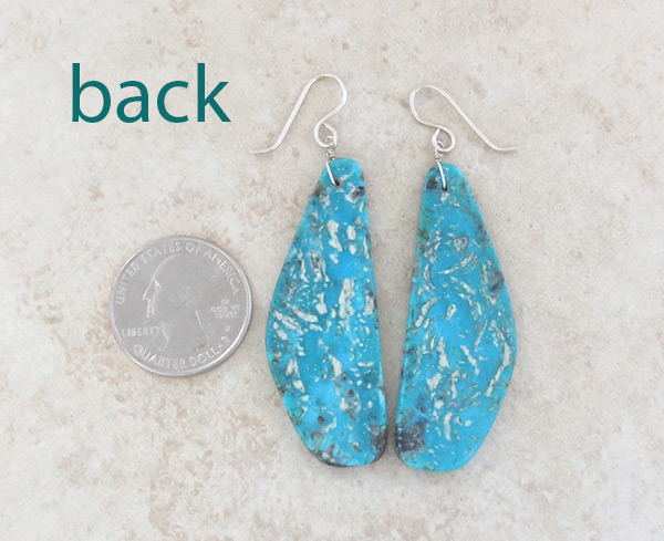 Image 2 of    Large Turquoise Slab Earrings Native American Jewelry - 5028rio