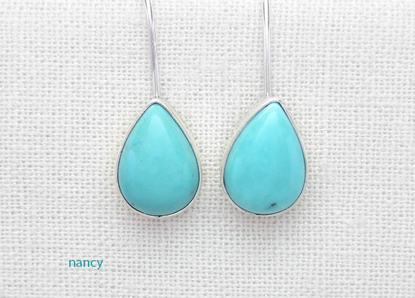 Image 0 of Small Turquoise & Sterling Silver Earrings Native American Jewelry - 4882sw
