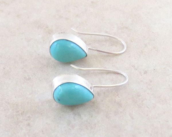 Image 1 of Small Turquoise & Sterling Silver Earrings Native American Jewelry - 4882sw