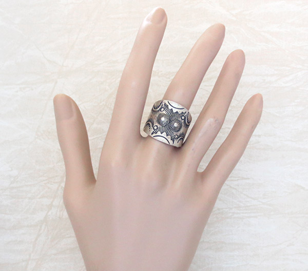 Image 1 of Stamped Sterling Silver Ring sz 10 Native American Jewelry - 5031pl
