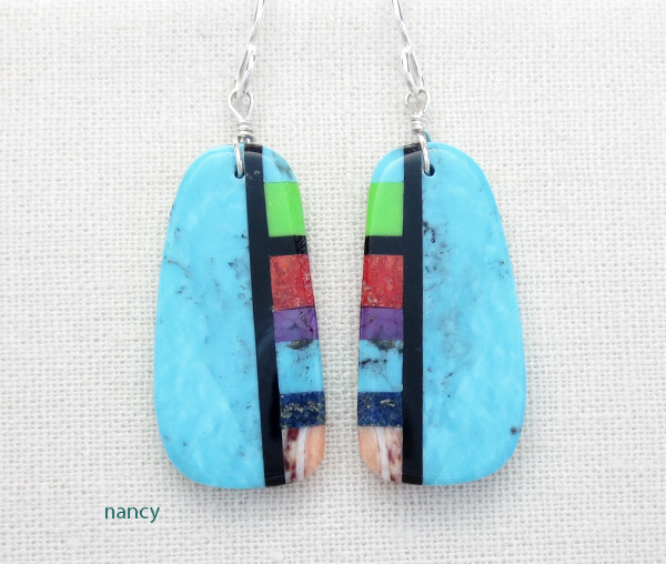 Image 0 of  Turquoise & Stone Slab Earrings Native American Jewelry - 4928pl