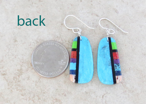 Image 2 of Turquoise & Stone Slab Earrings Native American Jewelry - 4928pl