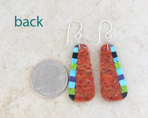 Image 2 of   Orange & Stone Slab Earrings Native American Jewelry - 4930pl