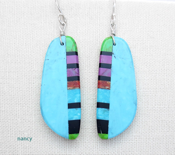 Image 0 of Turquoise & Stone Slab Earrings Native American Jewelry - 5034pl
