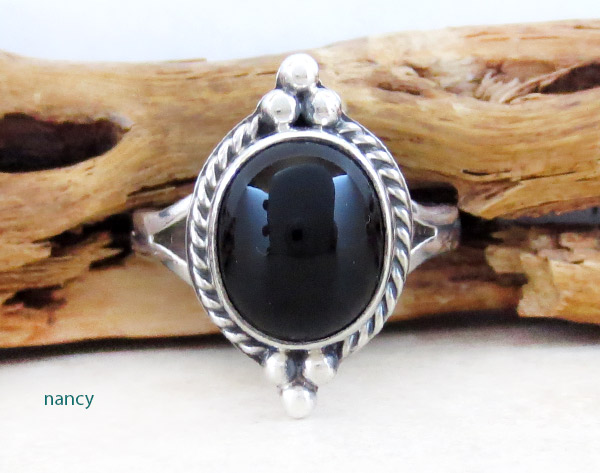 Image 0 of     Black Onyx & Sterling Silver Ring Ss 8.25 Native American Jewelry - 5032sn
