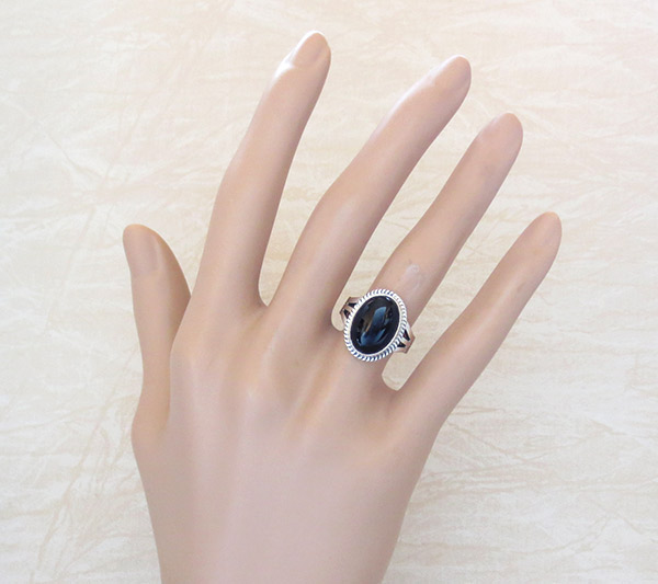 Image 1 of Black Onyx & Sterling Silver Ring Ss 8.25 Native American Jewelry - 5032sn